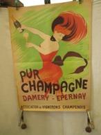 Affiche - Repro  1978 - Pliée - Champagne Damery  Epernay - Par Capiello  - 65  Cm Sur 47 Cm - Affiches