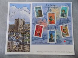 Premier Jour (FDC) Grand Format France 2003 : Destinées Romanesques (bloc Feuillet Avec Don Croix Rouge)) - FDC