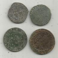 MONNAIE , Issue De Prospection, à Nettoyer ,à Identifier , 2 Scans ,  LOT DE 4 MONNAIES - Monnaies & Billets