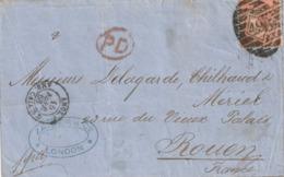 Marcophilie - Lettre D'Angleterre à Calais 1868 - 1840-1901 (Victoria)