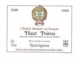 Etiquette De VIn Du Haut Poitou  -   Cuvée De L'Escale Aéroport Le Touquet  (62)   -    Thème Montgolfière - Mongolfiere