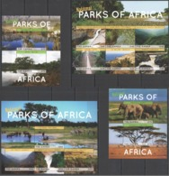 W855 2014 GAMBIA FAUNA WILD ANIMALS NATIONAL PARKS #7023-36 MICHEL 41 EU 2KB+2BL MNH - Stamps