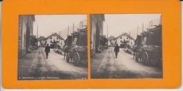 OLD STEREO CARD - FRANCE - CHAMONIX - ANIMATED - HORSE CART - Chamonix-Mont-Blanc