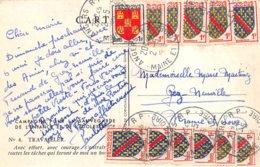 PIE.Z.19-PF.T-791 : CARTE POSTALE AFFRANCHIE AVEC 12 TIMBRES A 1 FRANC. SAUVEGARDE ENFANCE ET ADOLESCENCE. VILLARD - Postmark Collection (Covers)