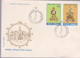CLOCKS, FDC COVER ROMANIA 1988 WITH SPECIAL POSTMARK CLOCK  PLOIESTI - Uhrmacherei