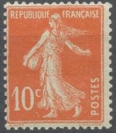 Type Semeuse Fond Plein Sans Sol. 10c. Rouge Orange (IA) Neuf Luxe ** Y138b - Francia