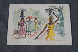 RARE Oeuvre De  Paul DAXHELET,Afrique,Groupe Au Pagne Jaune ( Ituri ) 27 Cm. Sur 21 Cm. - Art Africain