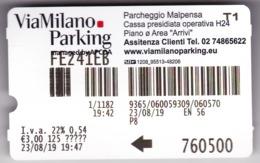 Italy , The Parking Ticket Of Milan , 2019 , Used - Billetes De Transporte