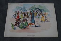 RARE Oeuvre De  Paul DAXHELET Sur Papier Dessin,Afrique,Marché Indigènes ( Usumbura ) 35 Cm. Sur 25 Cm. - Aquarelles