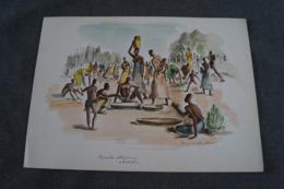 RARE Oeuvre De  Paul DAXHELET Sur Papier Dessin,Afrique,marché Indigène ( Urundi ) 35 Cm. Sur 25 Cm. - Aquarelles