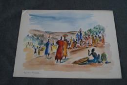 RARE Oeuvre De  Paul DAXHELET Sur Papier Dessin,Afrique,Marché Au Rwanda,Ruanda, 35 Cm. Sur 25 Cm. - Aquarelles