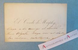 CDV El Conde Guillermo De MORPHY (comte) Aristocrate Espagnol Compositeur & Politique Madrid Espana Espagne Autographe - Autogramme & Autographen