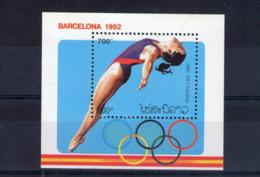 Laos. Bloc Feuillet. Jeux Olympiques D'été. Barcelone 1992. Plongeon Féminin - Laos