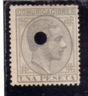 SPAIN ESPAÑA SPAGNA 1878 PERFIN KING ALFONSO XII RE UNA PESETA 1p MNH - Nuovi