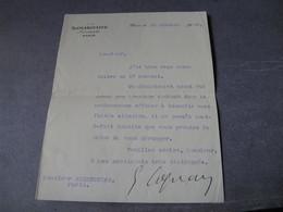 LETTRE SIGNEE D'ERNEST COGNACQ 1922 DIRECTEUR MAGASINS SAMARITAINE MECENE à ALBERT T'SERSTEVENS - Autógrafos
