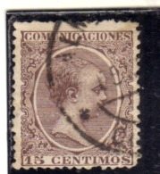 SPAIN  ESPAÑA  SPAGNA 1889 1899 KING ALFONSO XII CENT. 15c USED USATO OBLITERE' - 1889-1931 Regno: Alfonso XIII
