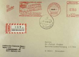 BRD: R-Brief Von 1991 Mit Herrlichem Werbeteil Zur Lilienthal-Gedächtnis-Ausstellung In München, AFS-Dat Auf 29.8. Geänd - [7] Federal Republic