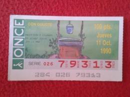 SPAIN CUPÓN DE ONCE LOTTERY LOTERÍA ESPAÑA 1990 DON QUIJOTE LA MANCHA MIGUEL CERVANTES DICHOS ESCENAS REFRANES POZO VER - Billetes De Lotería