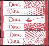 """Sucre - 6 Sticks De Sucre Vide """"Dina""""- Algérie. 'série Complète' - Sucres"""
