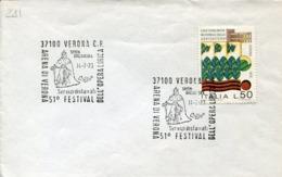 47158  Italia, Special Postmark 1973 Verona, Opera Festival Simon Boccanegra Of Giuseppe Verdi - Music