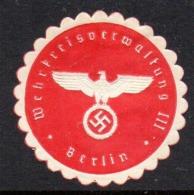 GERMANY WW2 3RD THIRD REICH WEHRKREISVERWALTUNG III CHURCH MANAGEMENT SIEGELMARKE NAZI GERMAN MARQUE SEAL RELIGION - Cartas
