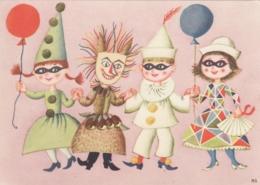 Children W Masks Dressed For Halloween Old Postcard - Halloween