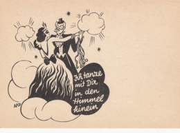Couple W Masks Dressed For Halloween Dancing Silhouette Old Postcard - Halloween