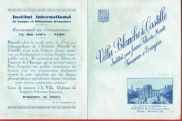Villa Blanche De Castille -Institut Pour Jeunes Filles Du Monde- 50 Av. Jacqueminot -Livret Commercial  - - Diplômes & Bulletins Scolaires