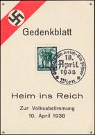 Gedenkblatt Heim Ins Reich Zur Volksabstimmung 10. April 1938 SSt Wien 10.4.1938 - Duitsland