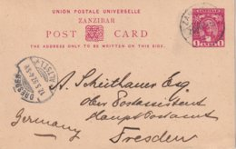 ZANZIBAR 1892   ENTIER POSTAL/GANZSACHE/POSTAL STATIONERY  CARTE POUR DRESDEN - Zanzibar (...-1963)