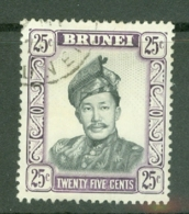 Brunei: 1964/72   Sultan Omar Saifuddin  SG127ab   25c  Black & Reddish Violet   [Glazed Paper]   Used - Brunei (...-1984)