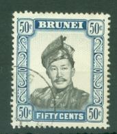 Brunei: 1964/72   Sultan Omar Saifuddin  SG128b   50c   Black & Ultramarine  [glazed Paper]   Used - Brunei (...-1984)
