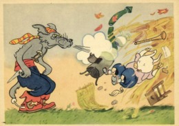 Illustrateur Les 3 Petits Cochons  Le Loup Soufflant Sur La Maison De Paille Du Petit Cochon   RV - Vertellingen, Fabels & Legenden