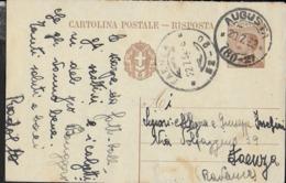 STORIA POSTALE REGNO - ANNULLO FRAZIONARIO DC - AUGUSTA  (60-2) 20.07.1932 SU INTERO MICHETTI (RISPOSTA) PER FAENZA - Marcophilia