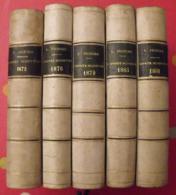 5 Tomes De L'année Scientifique Et Industrielle Par Louis Figuier. Hachette 1872 1876 1879 1881 1883 - Livres, BD, Revues