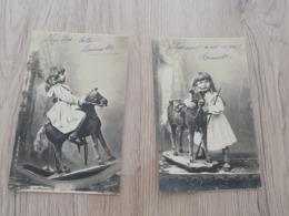 2 CPA Enfants Jouet Ancien Cheval  Bascule - Andere