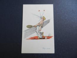 19983) TENNIS COLPO RIUSCITO ILLUSTRATORE NON RILEVATO VIAGGIATA 1951 - Tennis