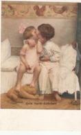 """""""F.J.Ostermann. Children Kissing. Gute Nacht-Kuschen"""" Fine Painting, Vintage German PC - Pintura & Cuadros"""