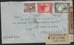 1945 ARGENTINA - REGISTERED AIRMAIL To SPAIN - CENSURA GUBERNATIVA BARCELONA - CORREO AEREO - Cartas