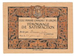 21 JUIN 1922 - ECOLE PRIMAIRE COMMUNALE De GARCONS TEMOIGNAGE De SATISFACTION - Imp ECOLE ESTIENNE - Diplômes & Bulletins Scolaires