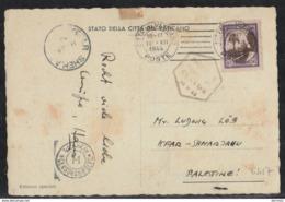 Kefar Shemryahu 1945 - Vatican To Palestine To Mr. Ludwig Los - Double Censor - Palestine