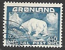 Greenland 1946   Sc#8   40o Polar Bear  Used   2016 Scott Value $11.50 - Groenlandia