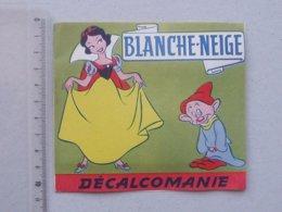 DECALCOMANIES Anciennes Walt DISNEY: BLANCHE-NEIGE Livret Avec 3 Volets Intérieurs - Nain Sorcière Pomme  JESCO Imagerie - Vieux Papiers
