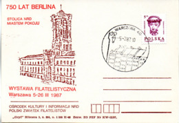 "(Bu-B1) Polen Sonderkarte ""750 Jahre Berlin"" EF Mi 2986 SSt. 5.3.1987 Warszawa 40 - 1944-.... Republik"