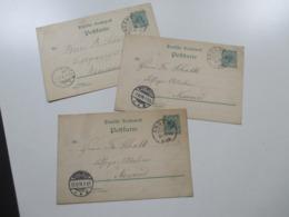 DR Reichspost 1896 3 Ganzsachen Mit KOS Kreisobersegmentstempel Engers (Rhein) An Das Lithografie Atelier In Neuwied - Briefe U. Dokumente