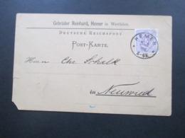 DR 1888 Pfennig Nr. 40 Breitere Marke! Stempel K1 Hemer Firmenkarte Gebrüder Reinhard, Hemer In Westfalen - Briefe U. Dokumente