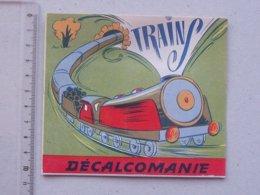 DECALCOMANIES Anciennes: LES TRAINS Livret Avec 3 Volets Intérieurs - Locomotive Rail Wagon - Editions JESCO Imagerie - Collezioni