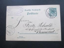 DR 1895 Reichspost GA  Firmenkarte Franken & Co An Die Lithografische Anstalt Schalk In Neuwied Selbstgemaltes Wappen - Briefe U. Dokumente