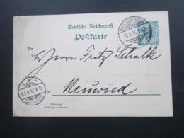 DR 1895 Reichspost GA  Firmenkarte Drahtstiftenfabrik Hammerwerkstaette Nettehammer Post U. Bahnhof Weissenthurm - Germania