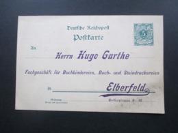 DR Um 1890 Reichspost Privat GA / PP Firmenkarte Hugo Garthe Elberfeld Gedruckte Werbung Drahtheft Apparate Buchbinder - Briefe U. Dokumente